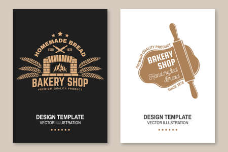 Bakery shop flyer, brochure, banner, poster. Vector. Typography design with old oven, ears of wheat silhouette. Template for bakery, restaurant identity objects, packaging and menu