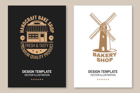 Bakery shop flyer, brochure, banner, poster. Vector. Typography design with windmill silhouette. Template for bakery restaurant identity objects, packaging and menu