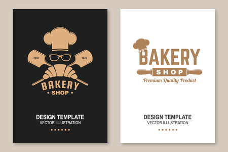 Bakery shop flyer, brochure, banner, poster. Vector Design with croissant, bread shovels, chef hat and ears of wheat silhouette. Template for bakery, restaurant identity objects, packaging and menu