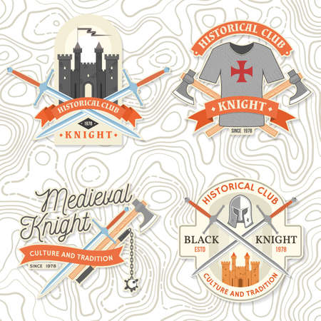 Knight historical club badge design. Vector illustration Concept for shirt, print, stamp, overlay or template. Vintage typography design with battle axe and shield silhouette. Ilustracja