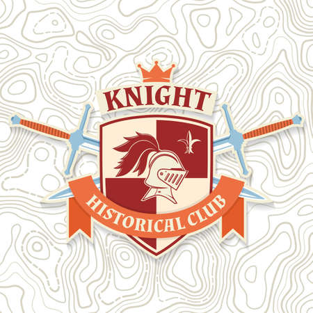 Knight historical club badge design. Vector illustration Concept for shirt, print, stamp, overlay or template. Vintage typography design with knight helmet, swords and shield silhouette.