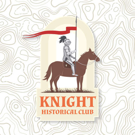 Knight historical club badge design. Vector illustration Concept for shirt, print, stamp, overlay or template. Vintage typography design with knight on a horse silhouette. Ilustracja