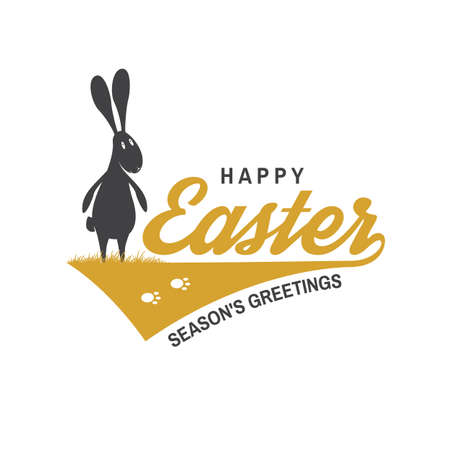 Happy Easter card, badge,  sign. Vector. Typography design with easter rabbit and hand eggs. Modern minimal style. For poster, greeting card, overlay, sticker