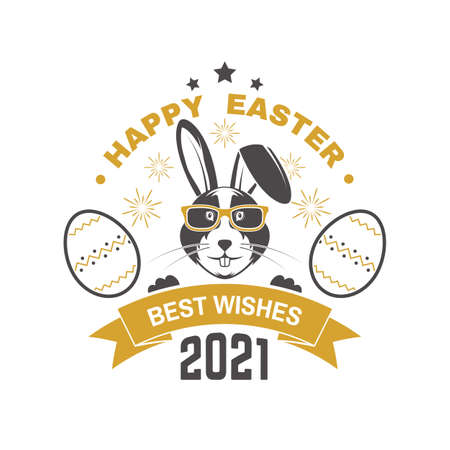 Happy Easter card, badge,  sign.  Typography design with easter rabbit and hand eggs. Modern minimal style. For poster, greeting card, overlay, sticker