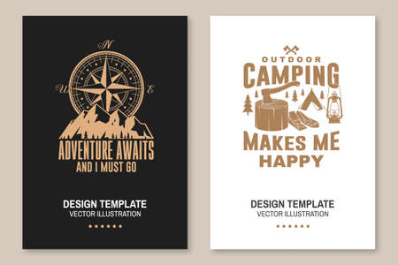 Set of outdoor adventure inspirational quote flyer, brochure, banner, poster. Vector . Typography design with camper tent, mountain, forest landscape silhouette.