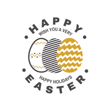 Happy Easter card, badge, sign. Vector. Typography design with easter hand eggs. Modern minimal style. For poster, greeting card, overlay, sticker Ilustracja