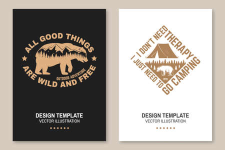 Set of outdoor adventure inspirational quote flyer, brochure, banner, poster. Vector. Vintage typography design with camper tent, bear, mountain, forest landscape silhouette Ilustracja