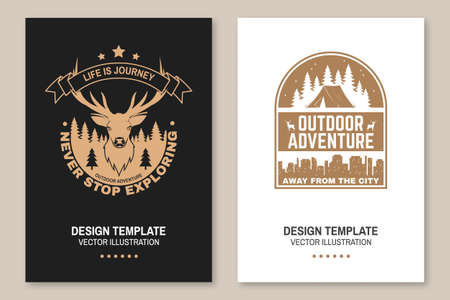 Life is journey. Never stop exploring. Outdoor adventure. Vector illustration. Concept for shirt, logo, print, stamp or tee. Vintage typography design with elk, forest landscape silhouette