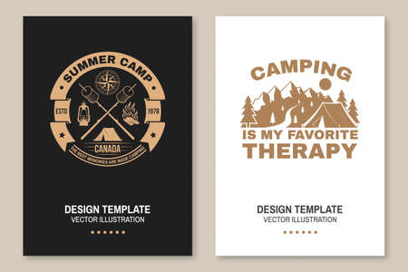 Summer camp. Happiness is toasted marshmallows. Vector. Vintage typography design with camping tent, campfire, marshmallow on a stick silhouette. Concept for shirt or print, stamp or tee Ilustracja