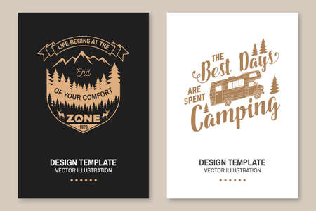 Set of outdoor adventure inspirational quote. Vector Concept for shirt,  print, stamp or tee. Vintage typography design with camper tent, camper van, mountain, forest landscape silhouette