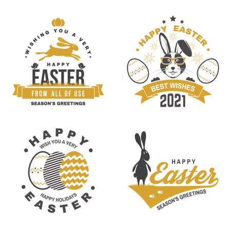 Happy Easter card, badge, sign. Vector. Typography design with easter rabbit and hand eggs. Modern minimal style. For poster, greeting card, overlay, sticker. Easter Egg Hunt