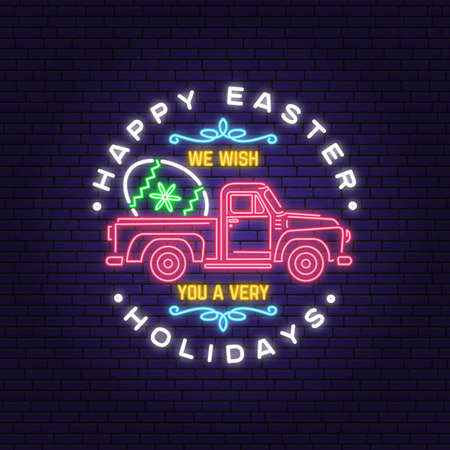 Happy Easter holidays neon card, badge and sign. Vector. Typography neon design with easter hand eggs. Modern minimal style. For poster, greeting card, overlay, sticker