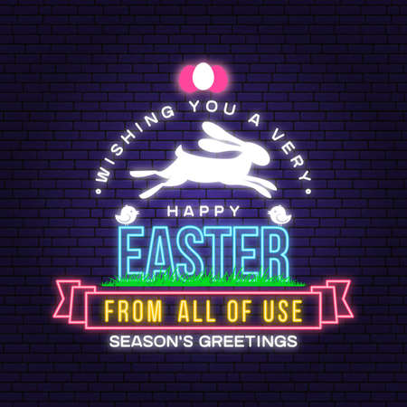 Happy Easter card, badge and sign. Vector. Typography design with easter rabbit and hand eggs. Modern minimal style. For poster, greeting card, overlay, sticker