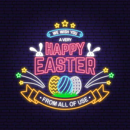 We wish you a very happy easter neon card, badge sign. Vector. Typography neon design with rabbit and hand eggs. Modern minimal style