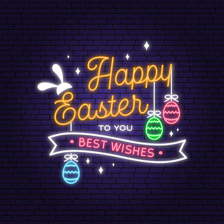 Happy Easter neon card, badge and sign. Vector. Typography neon design with easter rabbit and hand eggs. Modern minimal style. For poster, greeting card, overlay, sticker
