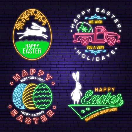 We wish you a very happy easter neon card, badge and sign. Vector Neon typography design with rabbit and hand eggs. Modern minimal style. Easter Egg Hunt Ilustrace
