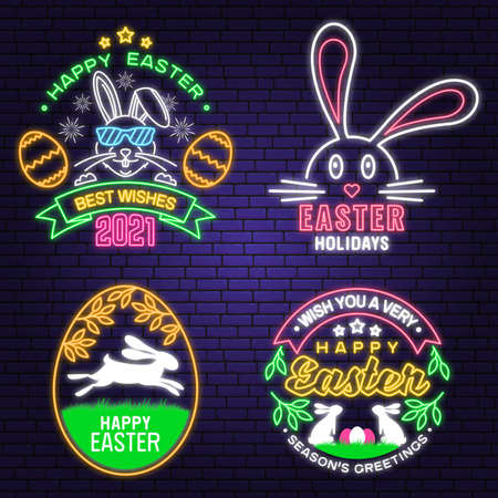 We wish you a very happy easter neon card, badge, logo, sign. Vector Neon typography design with rabbit and hand eggs. Modern minimal style. Easter Egg Hunt