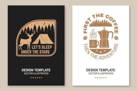 Let s sleep under the stars. Summer camp. Vector Flyer, brochure, banner, poster design with deer, coffee, camper tent in the night and forest silhouette.