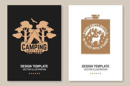Every empty bottle is filled with stories. Camping. Away from the town. Vector. Flyer, brochure, banner, poster design with metal hip flask, deer and mountains silhouette.