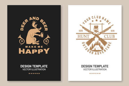 Deer and beer make me happy. Vector Flyer, brochure, banner, poster design with hunting gun, pot on the fire, camping tent, deer and hunting horn silhouette. Outdoor adventure hunt club emblem