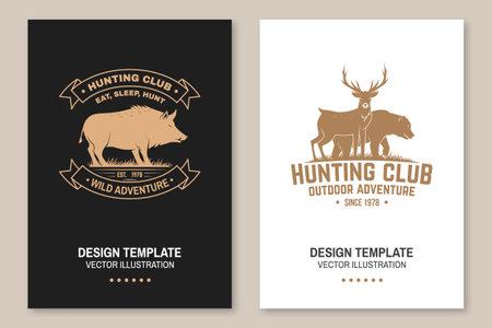 Hunting club badge. Eat, sleep, hunt. Vector illustration Flyer, brochure, banner, poster design with deer, bear and forest silhouette. Outdoor adventure hunt club emblem