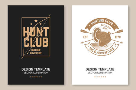 Hunting club badge. Eat, sleep, hunt. Vector Flyer, brochure, banner, poster design with turkey, hunting bow and arrow silhouette. Outdoor adventure hunt club emblem