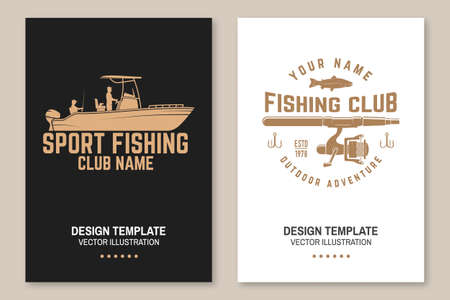 Sport Fishing club. Vector. Flyer, brochure, banner, poster design with fish rod and fishing boat silhouette. Outdoor adventure fishing club emblem