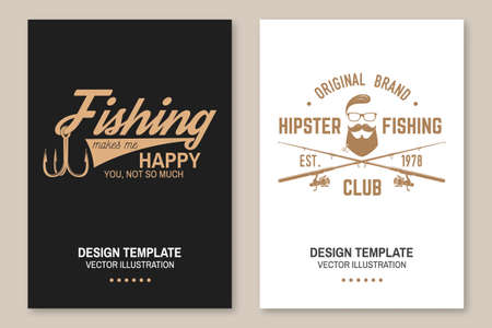 Fishing makes me happy you, not so much. Vector. Flyer, brochure, banner, poster design with fish hook and fish rod silhouette. Outdoor adventure fishing club emblem Ilustrace