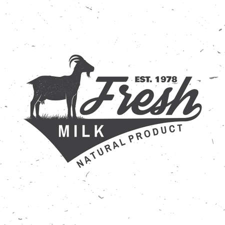Fresh natural milk badge . Vector. Typography design with goat silhouette. Template for dairy and milk farm business - shop, market, packaging and menu