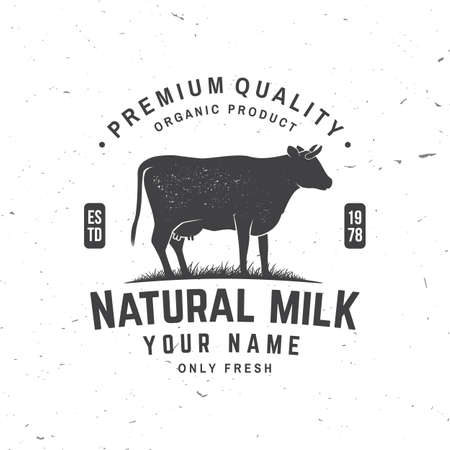Natural milk badge . Vector. Typography design with cow silhouette. Template for dairy and milk farm business - shop, market, packaging and menu