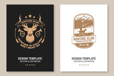 Set of Hunting club badge. Vector. Flyer, brochure, banner, poster design with deer and hunting horn, hunter, dog, hunting gun, mountains and forest. Outdoor adventure hunt club emblem