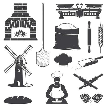 Set of Bakery equipment icon silhouette. Vector. Set include windmill, old oven, wooden bread shovel, dough, hop, baker and balance scale isolated on the white background. Ilustrace