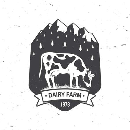 Dairy farm badge . Vector. Typography design with cow and mountain silhouette. Template for dairy and milk farm business - shop, market, packaging and menu Ilustrace