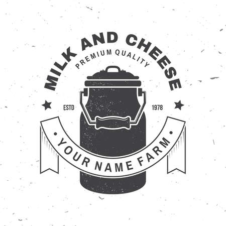 Milk and cheese farm badge . Vector illustration Typography design with milk can silhouette. Template for dairy and milk farm business - shop, market, packaging and menu