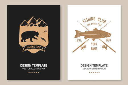 Fishing sport club. Vector illustration Flyer, brochure, banner, poster design with bear, fisherman and rainbow trout silhouette. Outdoor adventure fishing club emblem