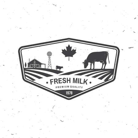 Fresh natural milk badge . Vector. Typography design with cow silhouette. Template for dairy and milk farm business - shop, market, packaging and menu Ilustrace