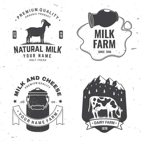 Dairy farm. Only fresh milk badge . Vector. Typography design with cow , goat silhouette. Template for dairy and milk farm business - shop, market, packaging and menu