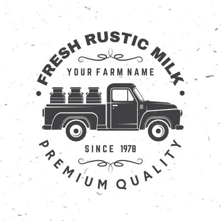 Fresh rustic milk badge . Vector. Typography design with cow silhouette. Template for dairy and milk farm business - shop, market, packaging and menu