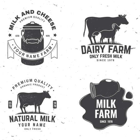 Dairy farm. Only fresh milk badge. Vector. Typography design with cow , goat silhouette. Template for dairy and milk farm business - shop, market, packaging and menu Ilustrace
