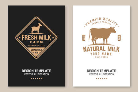 Dairy farm. Only fresh milk. Vector. Flyer, brochure, banner, poster design with cow, goat silhouette. Template for dairy and milk farm business - shop, market, packaging and menu