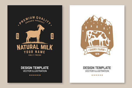 Dairy farm. Only fresh milk. Vector. Flyer, brochure, banner, poster design with cow, goat and mountain silhouette. Template for dairy and milk farm business - shop, market, packaging and menu
