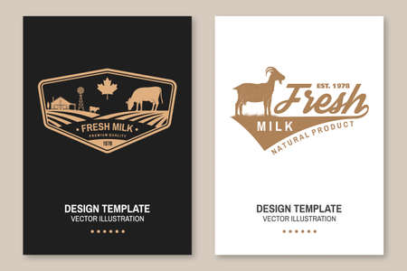 Dairy farm. Only fresh milk. Vector. Flyer, brochure, banner, poster design with cow, goat and farm silhouette. Template for dairy and milk farm business - shop, market, packaging and menu Ilustrace