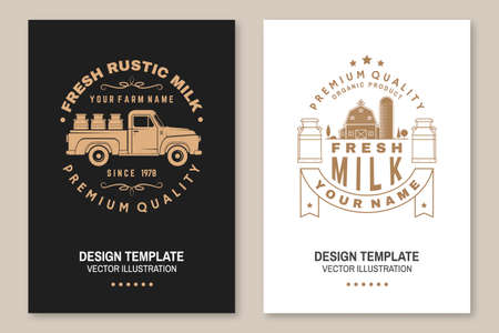 Fresh rustic milk badge. Vector Flyer, brochure, banner, poster design with cow, milk farm, truck silhouette. Template for dairy and milk farm business - shop, market, packaging and menu. Ilustrace