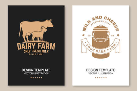 Dairy farm. Only fresh milk badge. Vector Flyer, brochure, banner, poster design with cow, goat, milk can silhouette. Template for dairy and milk farm business, shop, market, packaging and menu