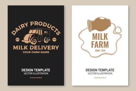 Milk delivery badge. Vector. Flyer, brochure, banner, poster design with milk truck, milk can silhouette. Template for dairy and milk farm business - shop, market, packaging and menu