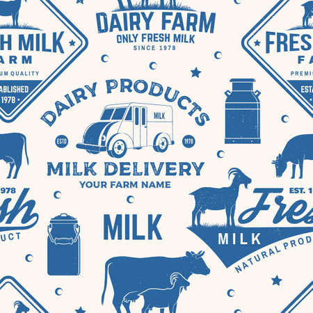 Milk farm seamless pattern or background. Vector Seamless dairy farm pattern with cow, goat, milk can silhouette. Texture for dairy and milk farm business - shop, market, packaging and menu