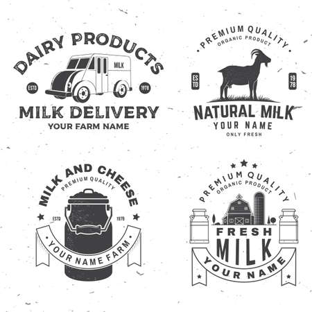 Fresh rustic milk badge. Vector. Typography design with cow, milk farm, truck silhouette. Template for dairy and milk farm business - shop, market, packaging and menu Ilustrace