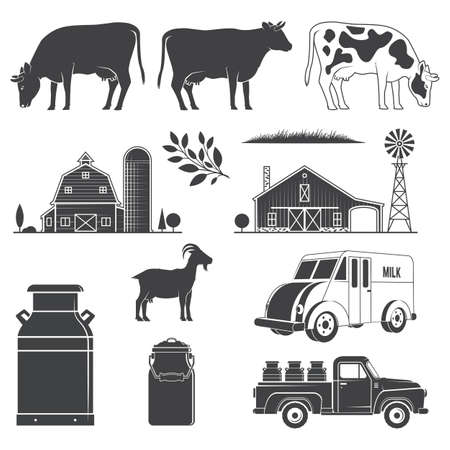 Set dairy and milk farm equipment icon. Vector illustration Set include cow, goat, farm, milk can, pickup silhouette scale isolated on the white background.