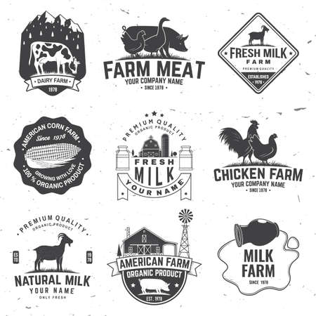 American Farm Badge or Label. Vector. Vintage typography design with chicken, pig, cow and farm house silhouette. Elements on the theme of the milk, pork and chicken farm business.