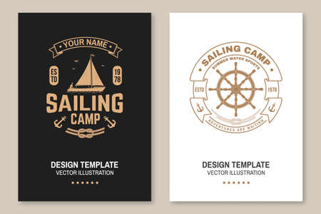Set of summer sailing camp template. Vector illustration Flyer, brochure, banner, poster design with man in sailboats and steering hand wheel ship silhouette. Ocean adventure sporting activity
